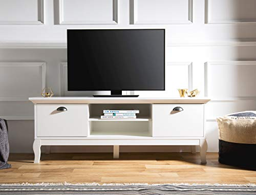 expendio TV-Board Preston 50 weiß 150x55x44 cm Lowboard TV-Schrank TV-Möbel Barock-Look