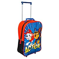PAW PATROL Trolley, Kids Luggage Travel Suitcase Carry on Cabin Holiday Pull Along Bag, Multi Colour