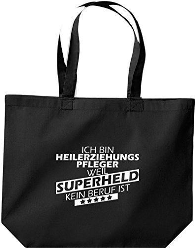 shirtstown grande borsa della spesa, SONO heilerziehungspfleger, WEIL supereroe NESSUN lavoro è Nero