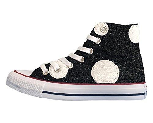 Converse All Star con applicazione pois glitter bianchi e neri Bianco