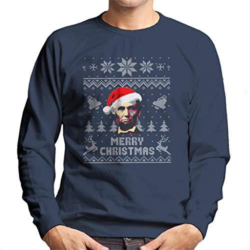 Cloud City 7 Merry Christmas Abe Lincoln Knit Pattern Men's Sweatshirt