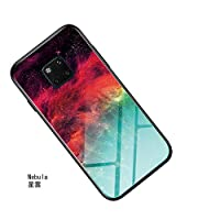 Absorption Bumper Cover 9H Gradient Color Tempered Glass Case Back Cover, Scratch Resistant Soft Silicone Bumper Case for Huawei Mate 20 Pro Phone Case Protective Cell Phone Cases (Color : Nebula)