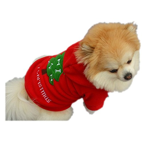 LHWY Weihnachtsbaum Hund Kleidung Weihnachtsmann Kostüm Outwear Dicken Mantel Hoodies Rot Kleider für Haustier Welpen (S, (Kostüme Herren Dickens)