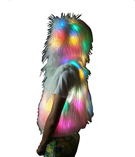 M Mayever Womens Faux Pelz Mantel LED leuchten Multi-Color Warm Hoodie mit glänzenden Lichter Jacke Halloween Weihnachten Kostüm S