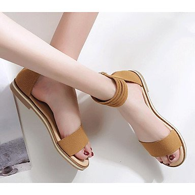 Sandalias Rtry Para Mujer Comfort Nabuck Leather Summer Informal Comfort Marrón Claro Flat Negro Us5.5 / Eu36 / Uk3.5 / Cn35