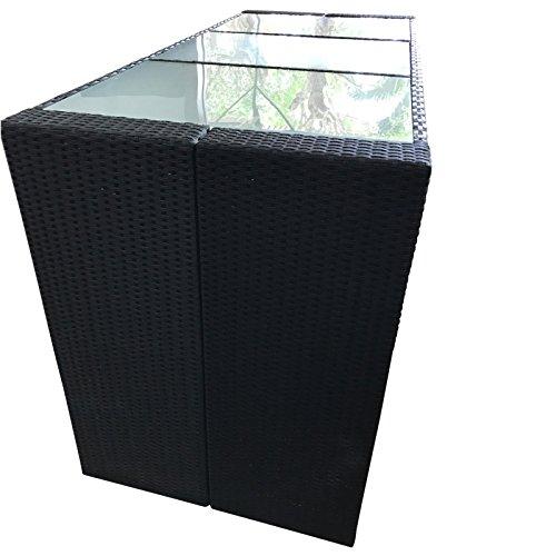 Bartisch Davos Polyrattan schwarz 185x80x110cm Gartenbar Tresen Theke Tisch