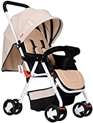 Luvlap Stroller/Pram, Extra Large Seating Space, Easy Fold, for Newborn Baby/Kids, 0-3 Years (khaki)