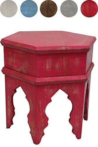 Marokkanischer Vintage Beistelltisch Hocker aus Holz Inam Rot ø 50cm rund | Orientalischer runder Tisch Blumenhocker klein für Wohnzimmer oder Küche | Orientalische Beistelltische als Dekoration -