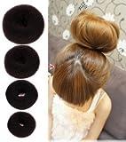 Jiahao 4pièces Opcc Hot Cheveux Donut Chignon Styler Maker, tirer le meilleur Parti Charmant Chignon de cheveux, Marron (1Petit 1moyen 1grande 1Taille XL)