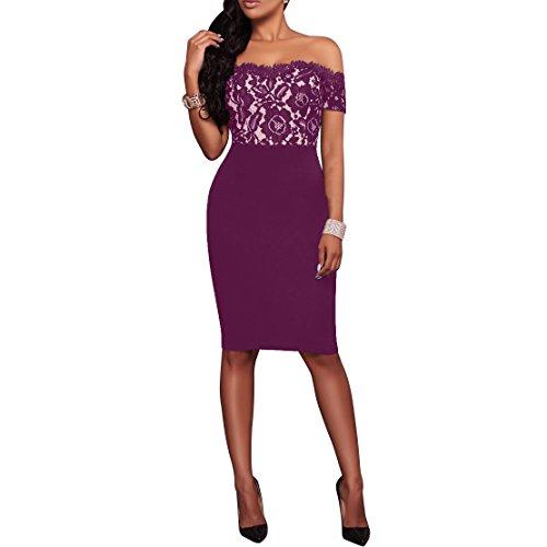 Synker Damen Schulterfrei Spitzenkleid Knielang Bodycon Cocktailkleid Abendkleid Partykleid Violett