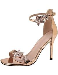 Yudesun Scarpe Tacchi Alti Sandali Donna - Elegante Moda Luccichio  Cinturino alla Caviglia Sandalo Sera Festa a987a411762