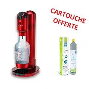 Homebar - smart turbo rouge - Machine à gazéfier l\'eau du robinet rouge