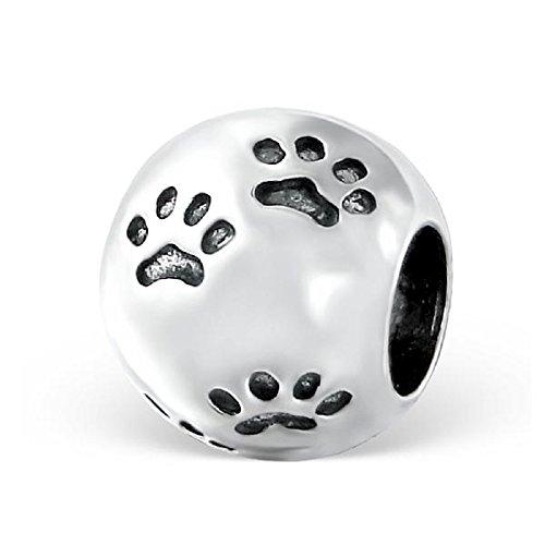 Paw Print Charm Bead-für Pandora Armbänder-925Sterling Silber-Teil Größe: 9mm x 10mm-Inklusive Geschenkbox-Die Rose & Silver Company-rs0617 -