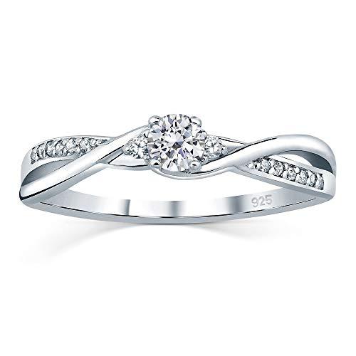 SILVEGO Verlobungsrring mit Swarovski® Zirconia 925 Sterling Silber (59 (18.8))