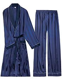 3968e685d2 MEMIND Silk männer Bademantel Pyjamas Morgen Dress frühling und Sommer Langarm  Hosen Freizeit blau männlich Home