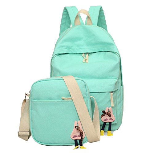 Ohmais 2PCS Rücksack Rucksäcke Rucksack Backpack Daypack Schulranzen Schulrucksack Wanderrucksack Schultasche Rucksack für Schülerin grün