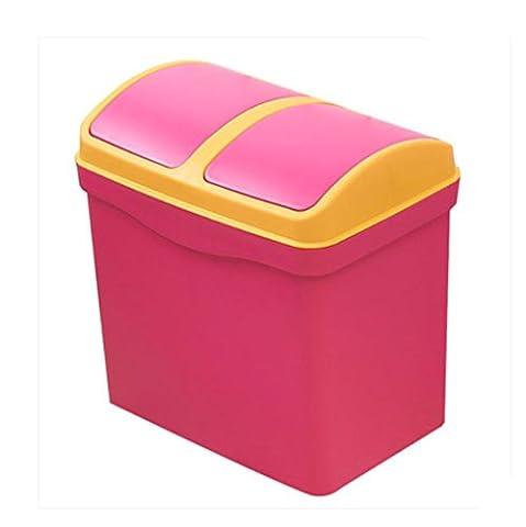 XXFFH Poubelle Trash Can Double Shake Cover Poubelle Creative Storage Barrels Cuisine Salon Large Poubelle Spécifications 33.5 * 24 * 34Cm , Rose Red