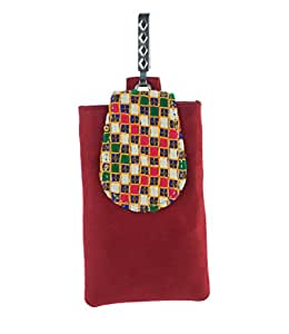Abhushan Maroon Color Mobile Pouch