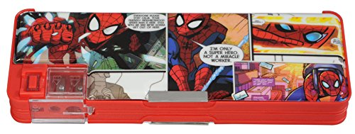 Disney & Marvel Pencil Box in Mickey Mouse, Minnie Mouse, Princess, Star Wars, Avengers and Spider-Man Characters, both side Magnetic Plastic Multi-functional Pencil Box with Sharpener, Multi color (Spider-Man) (Spider-Man)