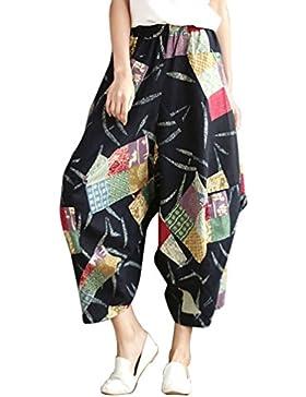LvRaoo Donna Pantalone Vita elastica Gamba Larga Harem Pantaloni Hippie Boho Cavallo Basso Baggy Capri Trousers