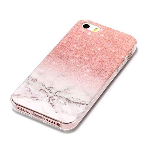 Felfy Housse iPhone 5S,iPhone 5S Coque Transparente Souple,iPhone SE Case Bumper Transparent en Silicone Ultra Slim Mince en Caoutchouc Souple Gel Coque Coquille Couverture Papillon Pastèque Citron Mo Rose Blanc Marbre