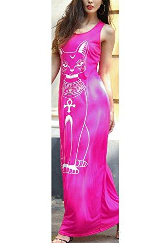 Frauen Gedruckt Ist Lässig, Maxi Tank Kleid Rose
