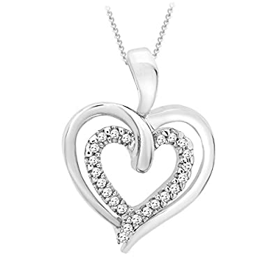 Carissima Gold 9ct White Gold Diamond Double Heart Pendant on Chain Necklace of 46cm/18""