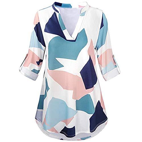 Tops Oberteile Damen T-Shirt Xjp Frauen Lässige 3/4 Rollenhülse Sexy V-Ausschnitt Bluse Geometrie Gedruckt Unregelmäßig Tunika Shirt(M, Multicolor) Sexy 5 3/4