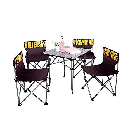 Hohe Patio Tisch (LXB Tragbare Klapp Camping Tisch Stühle Set, Aluminium Falten kompakte und kompakte Außenterrasse Camp Strand Picknick mit Tragetasche)