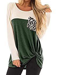 ZIYOU Damen Langarm Unterhemd mit Leopard Tasche Freizeit Long Sleeve  Knoten T-Shirt Bluse 775b930ee6
