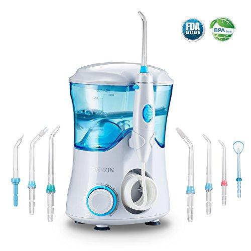 HONZIN Profi Munddusche Dentale Aquarius Water Flosser für Zähne, Zahnspangen und Brücken mit Hoher Druck - 600ml, Druckregelung und 7 Aufsätzes
