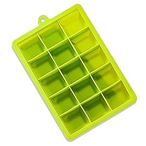Moules à glaçons et plateaux, avec couvercles Plastique sans BPA pour 15carrés Cubes Flexible empilable de libération facile congélateur Moules pour la fabrication de savons ou friandises pour chien