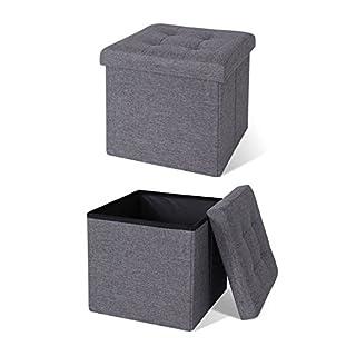 dibea SO00456, Sitzhocker faltbar, Leinen, 40 L, Cube 38 x 38 x 38 cm grau, Max 300 kg