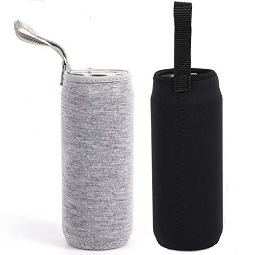 Nuluxi Wasserflasche Neopren Beutel Flaschen Thermo-Hülle Taschen Isolierte Neopren Flaschenhülle Passend für Teeflaschen Teebereiter Glas Wasser-Flasche und Teegläser (1 Stück Schwarz +1 Stück Grau) -