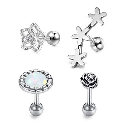 LAURITAMI 4stk Tragus Helix Cartilage Ohrring Stecker Set 6mm Bars Chirurgenstahl mit Opal Blume Ohr Piercing (Opal Piercings Tragus)