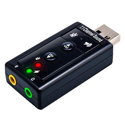 USB 7.1 Soundkarte extern | Dynamic 3D Surround Sound | inkl. Funktionstasten