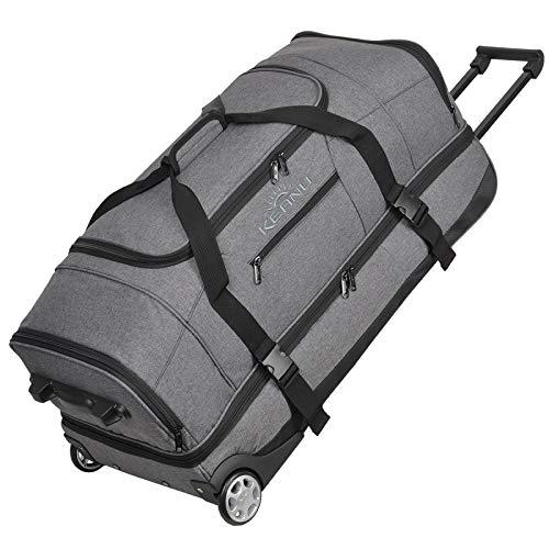 KEANU Reisetrolley Rollen Reisetasche :: XL Trolley Scooter :: 85 Liter Volumen, 2 getrennte Hauptfächer, Wäsche- Schuhfach, Seitentasche, Vordertasche (Grey Melange)