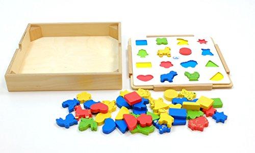 Unbekannt Zuordnungsspiel aus Holz / Zuordnung von Farben und Formen / Legespiel / Holzbox mit Hintergrundbrett, Vorlagenkarte + 48 Holzelemente