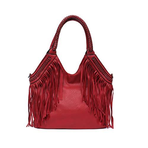 Mode umhängetaschen große quaste Frauen tragetaschen kettengriff umhängetasche Red