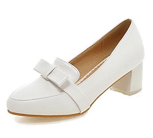 VogueZone009 Femme à Talon Correct Tire Matière Souple Rond Chaussures Légeres Blanc