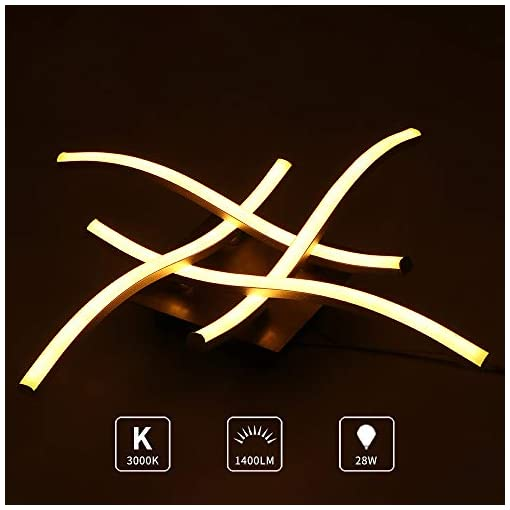 ALLOMN Plafoniera a LED, Lampada Lampadario Plafoniera Moderna Design Curvo con 4 Pezzi di Luce Ondulata per Soggiorno Camera da letto Sala da Pranzo (28W 4 Luci Bianco Caldo)