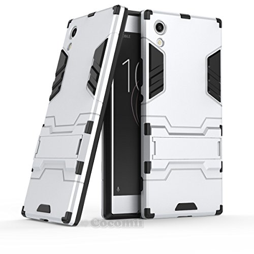 Sony Xperia XA1 Hülle, Cocomii Iron Man Armor NEW [Heavy Duty] Premium Tactical Grip Kickstand Shockproof Hard Bumper Shell [Military Defender] Full Body Dual Layer Rugged Cover Case Schutzhülle (Silver)