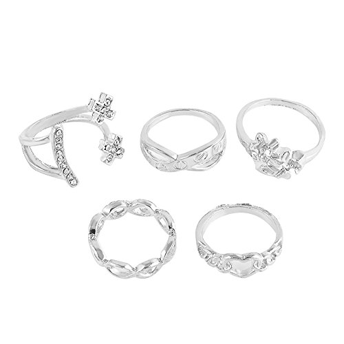 XY Fancy Damen mode süße Ringe 5pcs Ringe-Sets Midi-Ringe Stapelringe Blume Herz, Silber (Süße Finger-ringe Für Frauen)