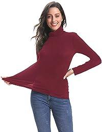 Abollria Pull Femme Col Roulé sous-Pull Basique Top Femme à Manches Longues  Hauts Femmes 311850b731f6