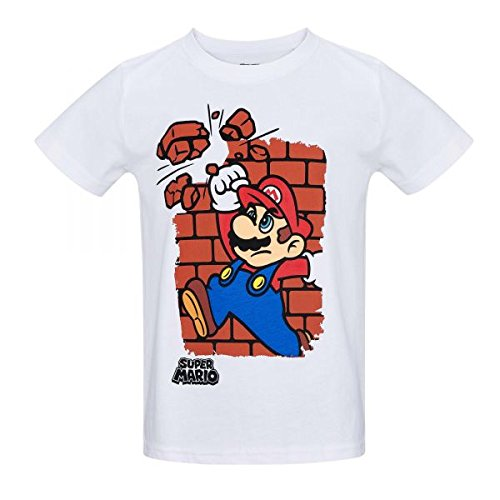Super Mario Bros Boys Short Sleeve T-Shirt - White - 4 yrs