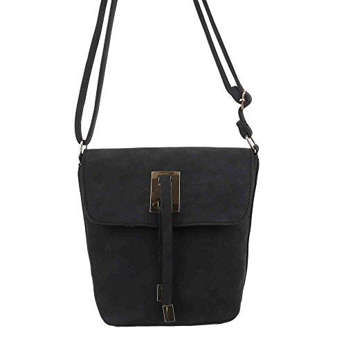 Damen Tasche, Kleine Umhängetasche, Kunstleder, TA-X309 Schwarz