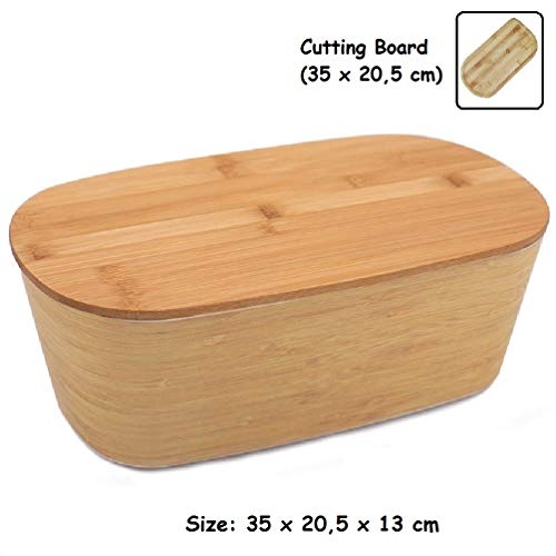 Panera Bambu con Tapa ♻ Panera de Fibra Bambú con Tabla de Cortar Madera Bamboo - Caja de Mesa...