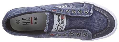 H.I.S Damen 141-007 Sneakers Blau (washed jeans)