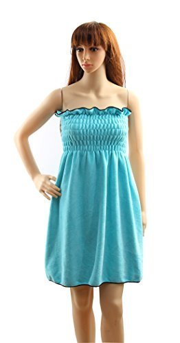 Hope Shine bademantelmikrofaser handtücher Bademantel Bad Wrap Badetuch mit turban handtuch für Damen (Wasser grün)