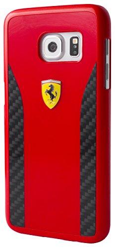 Ferrari FECCHCS7RE DAYTONA Glanz und Real Carbon Fiber Plate harte Schutzhülle für Samsung Galaxy S7 schwarz/rot